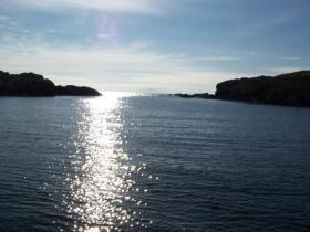 Beautiful view of the sea around Shetland